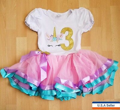 Baby Girl Unicorn Birthday Party Outfit Dress 3 Year Old