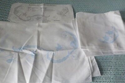cotton poly white stamped for embroidery table runner & 4 matching napkins