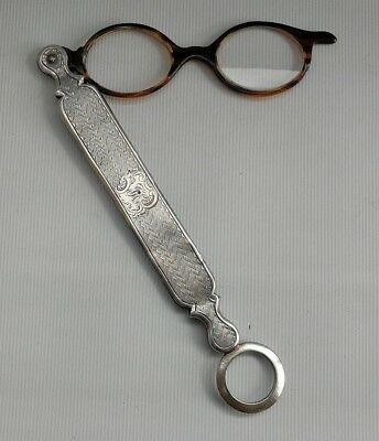 Vtg 1897 Levi & Salaman Solid Silver Ladies Lorgnettes Folding Reading Glasses