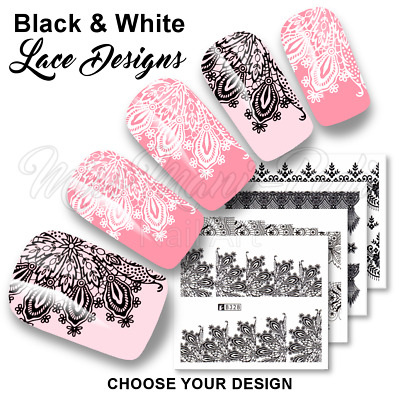 White Black Lace Nail Decals Water Decals Water Transfers Wedding Nails Stickers