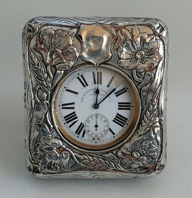 Vtg 1906 Art Nouveau Solid Silver Floral Desk Travel Goliath Pocket Watch Clock