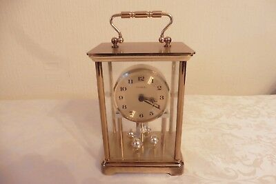 Vintage Solid Brass Rotating Pendulum Carriage Clock ( Working )