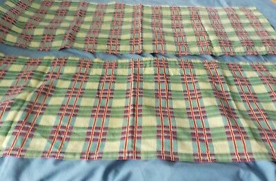 "2 vintage cotton fabric feedsack red and green & white plaid 34"" x 12"" each"