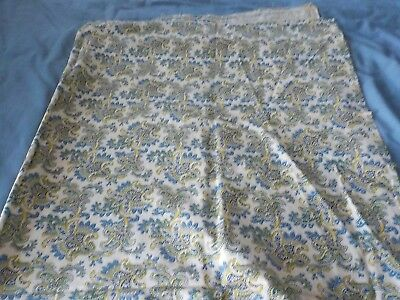 "Vintage white cotton fabric feedsack w blue & green flower design 36"" x 44"""