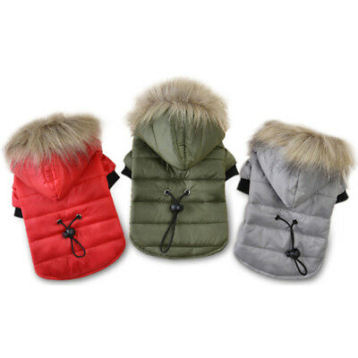 Winter Small Pet Dog Coat Jacket Warm Puppy Clothes Padded Hoodie Outfit Apparel