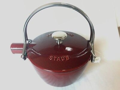Staub La Theiere Cast Iron Enamel Round Teapot Tea Kettle Red UNUSED NWOT
