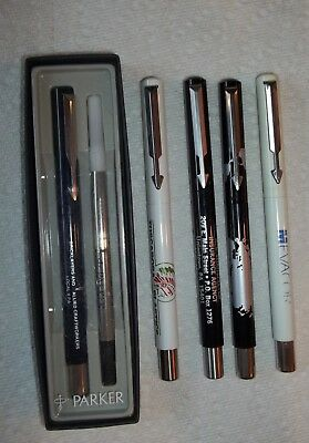 5 piece LOT Vintage Parker VECTOR Rollerball Pens with Advertising Most VGC