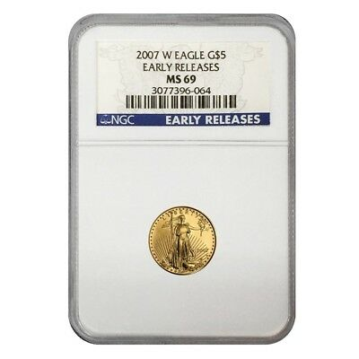 2007 W 1/10 oz $5 Burnished Gold American Eagle NGC MS 69 Early Releases
