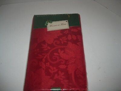 """New Holiday At Home  60 """" X 102 """" Red Poinsettia Symphony Christmas Tablecloth"""