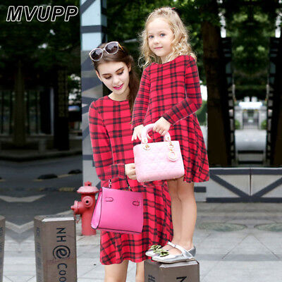 Mother-daughter dresses clothes Plaid dress family matching outfits Christmas