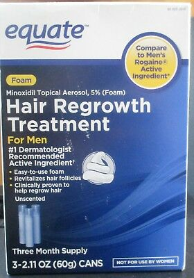 Equate hair regrowth foam treatment for men minoxidil topical 3 mth supply 1/18