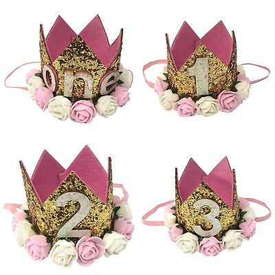 Baby Princess Crown Girls Tiara 1st 2nd 3rd Birthday Hat Gold Flower Sparkle