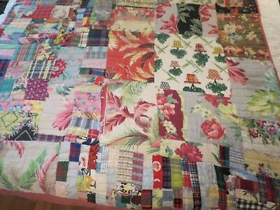 Vintage Quilt Brightly Colored Hand Pieced And Quilted Repair Or Cutter