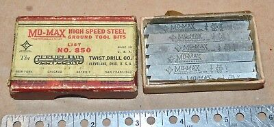 Six New Old Stock Mo-Max No.850 Ground Tool Bits in Original Box