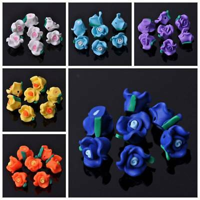 20pcs 12x9mm Polymer Clay Flowers Spacer Loose Beads DIY Jewelry Making Findings