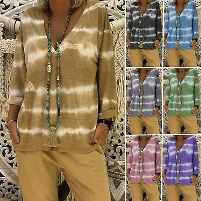 Plus Size Womens Tie Dye V Neck T-shirt Long Sleeve Casual Loose Tops Tee Blouse