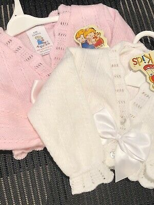 Spanish Knitted Baby Girls Cardigan Bolero Boleros Pink White 0-3 3-6 6-9 Mths