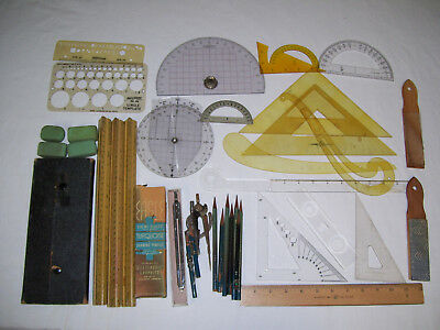 Vintage Drafting Lot Tools Instruments Triangles, Pencils, Rulers, Compass Kit