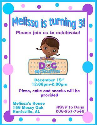 12 Custom Doc McStuffins Birthday Invitations Style 6 By The Notecard Lady