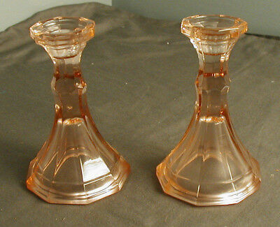 "2 VINTAGE CANDLESTICK HOLDERS - PINK GLASS - 6"" TALL X 3 7/8"" WIDE - pd"