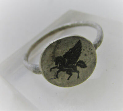 Superb Medieval British Silver Ring With Griffin On Bezel