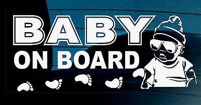 BABY ON BOARD STICKER DECAL SIGN CAR WINDOW SAFETY  REUSABLE BOY Footprints +