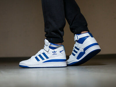 best website b2568 bcfd2 Nib Mens Adidas Forum Mid Refined Top Ten White Blue Retro Athletic Shoes  F37830