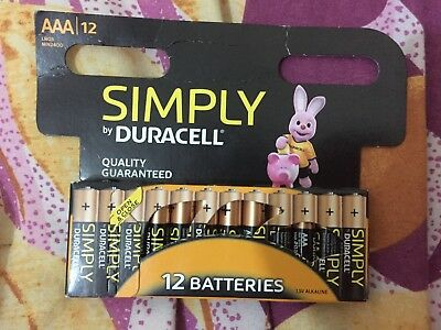 12 x Duracell Simply AAA 1.5v Batteries Pack Alkaline LR03 MN2400  -FREE POSTAGE