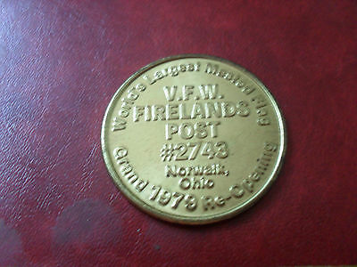 US coin World's largest masted flag grand 1979 pre-opening V.F.W Firelands Post