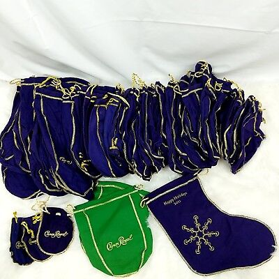 Large Lot Purple Crown Royal Felt Bags with Gold Drawstring - Crafting - Sewing