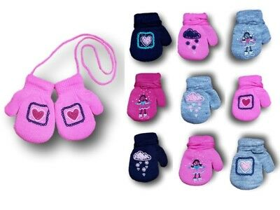 Baby Girl Toddler Winter Acrylic Mittens With String Gloves ABS Size 12M-5 Years