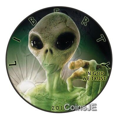 2017 1oz American Eagle Liberty Glow In The Dark Alien Ruthenium Silver Coin