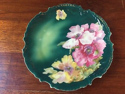 Antique Vintage Royal Munich Bavaria Hand Painted Porcelain Green Floral Plate