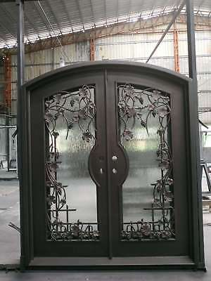 Wrought Iron and Glass Entry Door Set
