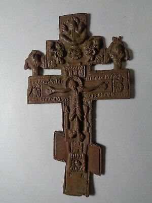 Russian Empire ancient orthodox bronze large icon cross 1800s original 46