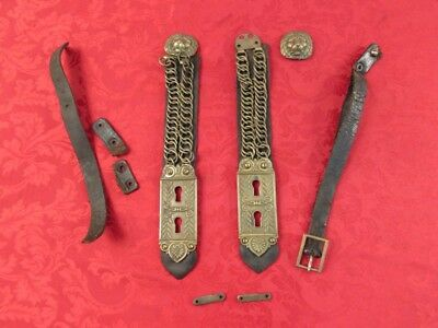 French Or Belgium 19Th Century Cuirass Shoulder Straps And Belt
