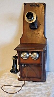 Western Electric Fiddleback Wood Wall Telephone 85 G 1900-1920 Compact w/Patent
