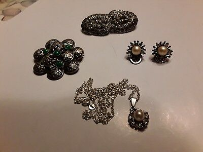 Job Lot Of Vintage/antique silver jewellery earrings, brooches, Marcasite Clip