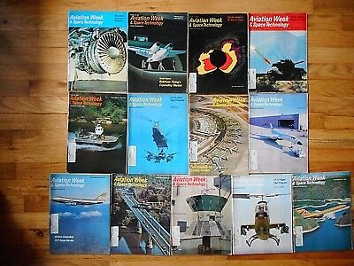 """Lot Of 1974 """"aviation Week & Space Technology"""" Back Issue Magazines"""