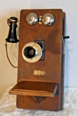 Montgomery Ward Single Box Wooden Wall Telephone w/Attached Lightning Arrester