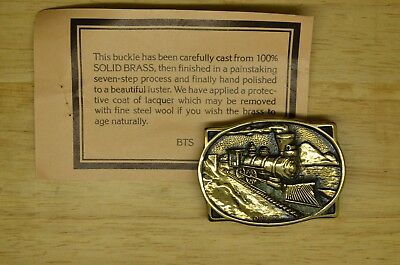 1979 Bts Solid Brass Train Belt Buckle New Old Stock Locomotive Tracks Steam Eng