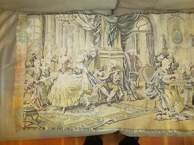 Antique tapestry Victorian parlor scene wall hanging