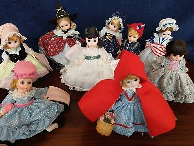Lot #4 of Vintage Madame Alexander 8 Inch Dolls great collection of 9 dolls