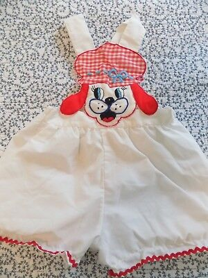 Vintage Sunsuit for Baby ~ White with Puppy Dog as Bib ~ Trimmed in Red