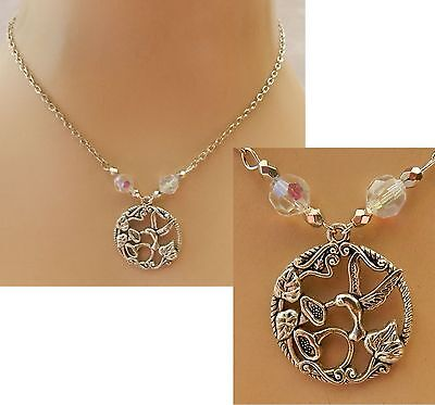 Necklace Hummingbird Pendant Chain Silver Handmade NEW Jewelry Charm Flower NEW