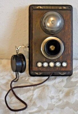 Wooden Wall Inter Phone w/Five Button Interface Mother of Pearl - Shell - VTG