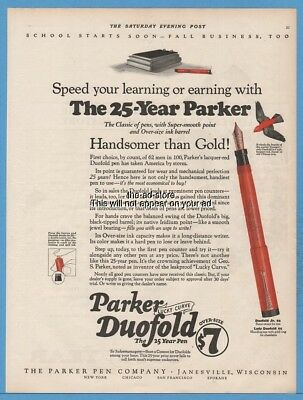 1922 Parker Pen Co Janesville Wisconsin Red Duofold Fountain Pen Magazine Ad