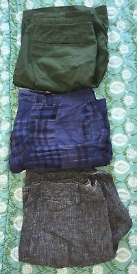 3 Pairs J Crew Mens Shorts Black Grey 33 Hunter Green 32 Blue Patchwork 32