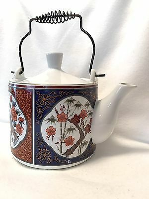 """Japanese Imari Ware Peacock Teapot  Approx  5"""" In Height Made In Japan Lovely"""