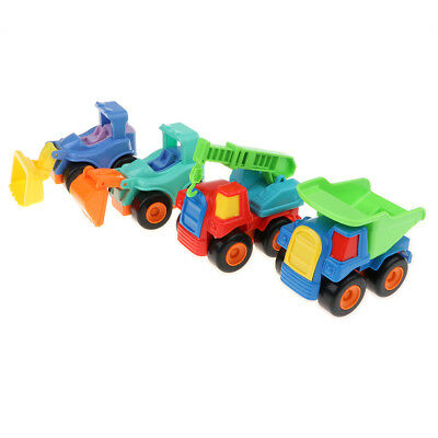 4Pcs Push & Go Friction Powered Car Engineering Vehicle Set for Kids Toddler